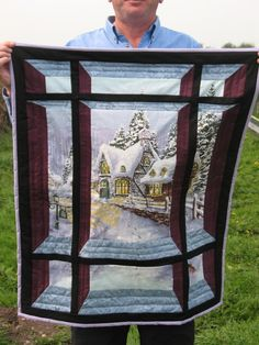 Attic Window Quilt Pattern Variations - I wonder if you could do this with other panel landscapes...
