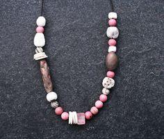 Spring Moon ceramic beaded necklace/ handmade porcelain/ Raku/ pit fired beads/ Jasper/ Rose Quartz/ ethnic/ boho/ tribal/ art beads/ OOAK by CopperLarkStudio on Etsy Ceramic Necklace, Ceramic Beads, Beaded Necklace, Pink Quartz, Rose Quartz, Perfect Gift For Her, Gifts For Her, Black And White Spider, Blue Beads