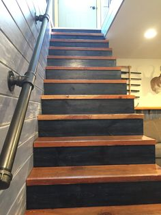 Ideas Spiral Stairs Remodel Interior Design For 2019 Basement House, Basement Stairs, House Stairs, Cozy Basement, Basement Makeover, Basement Renovations, Home Remodeling, Redo Stairs, Stair Railing