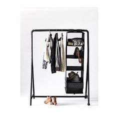 If you& living in a space with a teeny tiny closet (or no closet at all), that& no reason to fret. A freestanding wardrobe or clothing rack can provide a home for all your things, no remodeling required. Here are 10 of our favorites. Ikea Clothes Rack, Portable Clothes Rack, Storing Clothes, No Closet Solutions, Wardrobe Solutions, Tiny Closet, Closet Space, Open Closets, Dream Closets