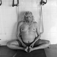 B.K.S. Iyengar practices in the premises of the Ramamani Iyengar Memorial Yoga Institute in Pune.