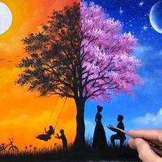Art Drawings Sketches Simple, Art Drawings Beautiful, Art Drawings For Kids, Oil Pastel Art, Oil Pastel Drawings, Easy Canvas Art, Art Painting Gallery, Cool Paintings, Watercolor Art