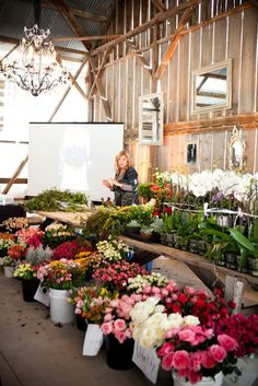 Barn at Dos Pueblos Ranch filled with Florabundance Flowers ~ Holly Chapple giving her presentation. Floral Design Classes, Wholesale Florist, Floral Supplies, Bridesmaid Dresses, Wedding Dresses, One Design, Wedding Designs, Event Planning, Flower Arrangements