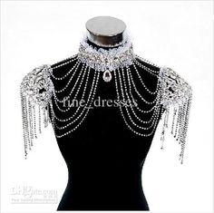 Wholesale 2013 Shiny High Neck Short sleeve Crystal Tassel Bolero Wrap Shawl Jacket Bridal Wedding Accessory, Free shipping, $84.0-95.2/Piece   DHgate