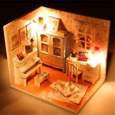 Hoomeda DIY Holzpuppenhaus Miniatur mit LED + Möbel + Abdeckung Puppenhaus Zimmer