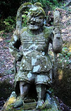 Nio - Temple Guardian. This Stone Nio is Guarding Shirahige Tahara Shrine near Lake Biwa, Hie, Japan. Nio are Rarely Found Guarding Shinto Shrines since the Separation of the Buddhas and the Kami during the Meiji Period... Shinto-Shrine ~ Buddhist-Temple. Before the Meiji Period Separation, Nio Guarded both Temples and Shrines, and the Buddhas and the Kami were Prayed to at both as well...