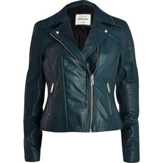 River Island Dark teal leather biker jacket (160 CAD) ❤ liked on Polyvore featuring outerwear, jackets, coats, leather jacket, tops, sale, real leather jacket, blue motorcycle jacket, blue leather jacket and quilted biker jacket
