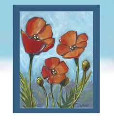 Poppy Painting, Original Painting on Canvas 14 x 17 inches