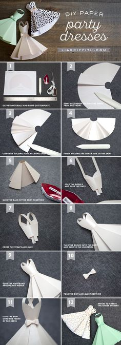 Paper Dress DIY Wedding Decorations - Lia Griffith Vestidos de papel para decoracion /Tutorial Paper Party or Wedding Dress Invitations from MichaelsMakers Lia Griffith ST. Origami Vestidos, Diy Vestidos, Origami Dress, Origami Paper, Oragami, Diy Origami, Paper Quilling, Dress Card, Diy Dress