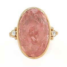 MORGANITE WITH DIAMONDS COCKTAIL RING – Emily Amey Jewelry Opal Rings, Gemstone Rings, Grey Diamond Ring, Morganite Ring, Cocktail Rings, Bracelet Watch, Cherry, Diamonds, Brooch