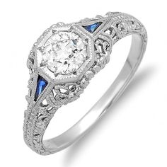 Platinum Art Nouveau Style Diamond and Sapphire Hand Engraved Engagement Ring with .54 FG-VS1 European Cut Diamond on Etsy, $2,995.00