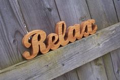 Wood Relax Sign Shelf Sign Word Art by KerflineCrafts on Etsy, $10.00