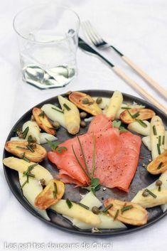 Les petites douceurs de Cricri - Recette Salade printanière aux asperges, pommes de terre et saumon fumé Labeyrie, vinaigrette aux câpres