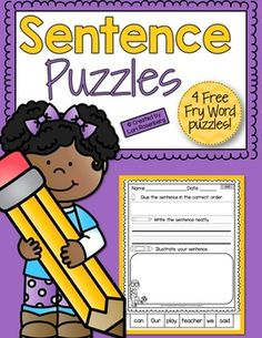 I hope you enjoy these Fry Word Sentence Puzzle Freebies!These Fry Word Sentence Puzzles are a wonderful activity to help young learners practice reading, writing, spelling, conventions, and grammar. Each puzzle highlights one of the first or second hundred Fry Words, and contains numerous high frequency words and kid-friendly vocabulary words, to help young learners commit these words to memory.