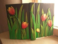 Red and Yellow Tulip Journal Polymer Clay Journal by EmilyMah