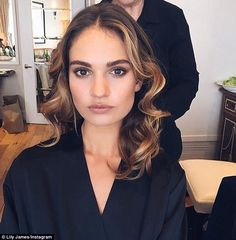 Ready for my close-up: Lily shared a selfie in her hotel room at Claridges at she prepared to her big night