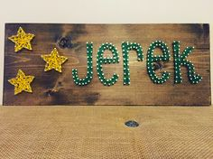 Name Board with Stars. 18x8 board.  #BabyBoy #StringArt #ExcellThreads  To order, email: excell.threads@gmail.com Custom orders also available.