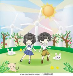 Children and animals in the world of green clean energy living happy together as a family in environmental friendly concept with wind turbine and forest background, create by cartoon vector.