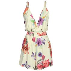 Cupshe Sun and Dance Floral Slip Romper (53 BRL) ❤ liked on Polyvore featuring jumpsuits, rompers, playsuits, dresses, jumpsuit, romper, playsuit romper, white floral romper, open back jumpsuit and plunge neck romper