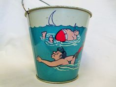 1930s+VINTAGE+Funny+swimming+characters+Children+Beach+Sand+Pail+tin++