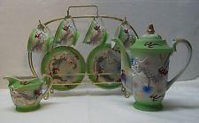 Raised Dragon Teapot Creamer Teacup Saucer Display Vintage Japanese 16pcs Green