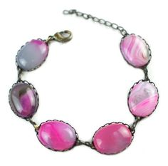 "Fuschia Pink Striped Agate Antique Copper Bronze Bracelet 6.25"" to 7.5"" Shoushockie http://www.amazon.com/dp/B00JUGATGU/ref=cm_sw_r_pi_dp_oPakvb1JHBEYT"
