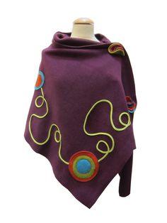 Etole poncho violet en polaire Etoola 1420 : Manteau, Blouson, veste par safishop