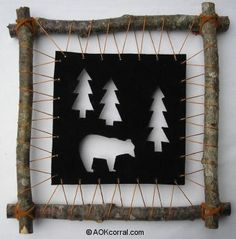 Rustic Leather Wall Hanging - idea for frame, using leather, sinew, bark-on branches ...