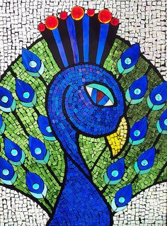 Blue Peacock by Kathleen Coyle (Glass Crows mosaics), via Flickr