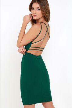 Be-All Trend-All Backless Dark Green Midi Dress at Lulus.com!