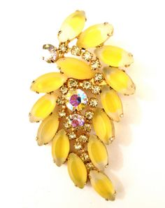 Vintage Juliana D&E Yellow  Givre Rhinestone by Vintageimagine, $95.00
