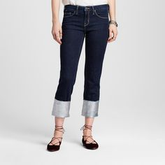 Women's High Rise Straight Crop Wide Cuff With Foil Dark Blue