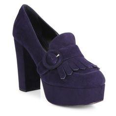 Prada Kiltie Suede Platform Pumps ($665) ❤ liked on Polyvore featuring shoes, pumps, blue, high heel pumps, blue suede shoes, prada shoes, blue high heel shoes and high heel platform shoes