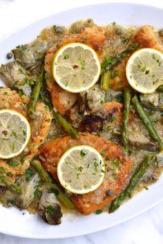 Chicken, Asparagus and Artichoke Piccata