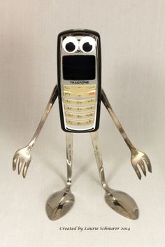 """ ~ Original junk art sculpture made by Laurie Schnurer in Looks like he's trying to explain his way out of something.) (Almost everything looks good with googly eyes. This is adorable though. Metal Sculpture Artists, Steel Sculpture, Art Sculptures, Sculpture Ideas, Abstract Sculpture, Bronze Sculpture, Recycled Robot, Recycled Art, Repurposed"