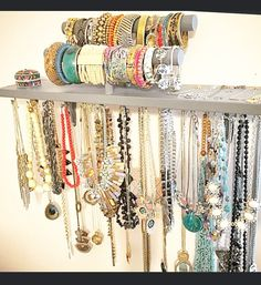 Jewelry Organizer - Bracelet and Necklace Holder Combination Jewelry Shelf - You pick color, over 30 choices available! by PolkaDotDrawer on Etsy https://www.etsy.com/listing/235039011/jewelry-organizer-bracelet-and-necklace