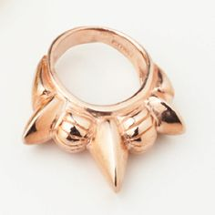 Gold Tribal Spike Band Ring  Available in 10k gold vermeil and 14k rose gold vermeil. Rose gold vermeil pictured. Sizes 5-9. From the Pre-Fall 2011 Collection.
