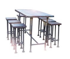 High Industrial Gas Pipe Pole Modern Chic Retro Pub Bar Restaurant Table