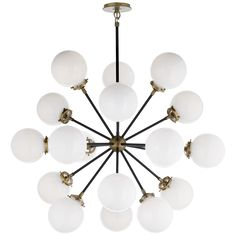 Shop for Visual Comfort S Ian K. Fowler Modern Bistro Medium Round Chandelier in Hand-Rubbed Antique Brass and Black with White Glass at Foundry Lighting Visual Comfort, Round Chandelier, Visual Comfort Lighting, Light, Ceiling Pendant Lights, Large Chandeliers, Chandelier, Ceiling Lights, Globe Chandelier