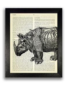 Prehistoric Rhino Dictionary Art Print Rhino Wall Artwork