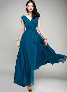 V Neck & V Back Teal Maxi Dress with Ruched Waist Yoke (Prom Dress) – RobePlus