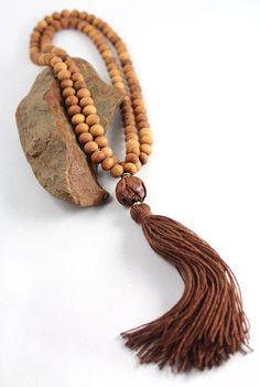 Sandalwood Mala Beads, Lotus Bead, Tassel Necklace, Meditation Beads, Prayer Beads, Mens Mala, Mala Necklace, Yoga Style...