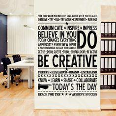 Наклейка на стену надписи, Be creative, большая текстовая наклейка, купить наклейку текст Be creative, где купить Be creative   uzuri.com.ua