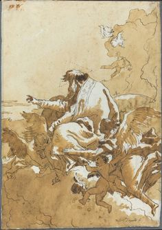Giovanni Domenico Tiepolo, 'God the Father Seated in Clouds Surrounded by Angels and Putti'