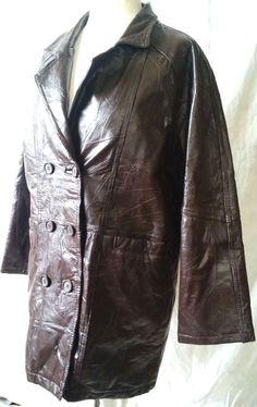 Striking Brown Double-Breasted Leather Jacket Size M #Jacket #BasicJacket #eBay #Fashion #Leather
