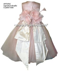 Ballet Pink and Bisque (creme) ballerina style FLOWER GIRL DRESSES with layers and layers of tulle