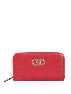 Salvatore Ferragamo Gancini Icona Zip-Around Wallet - Rosso-Red