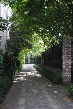 Gorgeous cobblestone driveway. wrought iron. Charleston. Cobblestone Driveway, Brick Driveway, Driveway Entrance, Southern Plantations, Green Garden, Animal Tattoos, Animal Design, Sidewalk, Yard