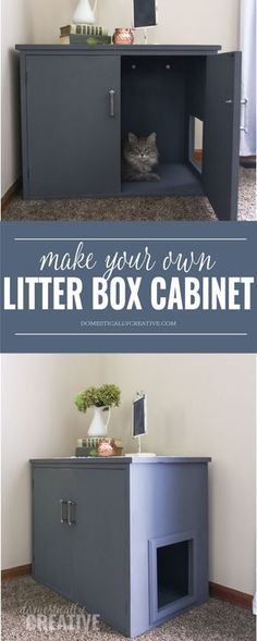 Box Cabinet This is a great way to hide the litter box! Make your own litter box cabinet out of a thrift store piece!This is a great way to hide the litter box! Make your own litter box cabinet out of a thrift store piece! Hiding Cat Litter Box, Hidden Litter Boxes, Diy Litter Box, Litter Box Enclosure, Enclosed Litter Box, Diy Furniture Litter Box, Dog Crate Furniture, Furniture Ideas, Deco Studio
