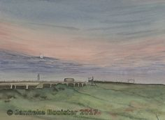 https://flic.kr/p/WEhNUV | Avondlicht boven de polder / Evening light above the polder | Watercolour on Saunsers Waterford NOT 300 g/m2. Colours used are French Ultramarine, Payne's Grey, Cerulean Blue (red shade) Permanent Alizarine Crimson, Winsor Orange (red shade), Vandyke Brown, Winsor Yellow; all Winsor&Newton Professional and Chinese White from Winsor&Neton Cotman.  The reference photo was made for me by my daughter Mariska.  Framed 40 x 50 cm; € 85,-  Meer informatie vindt u op /